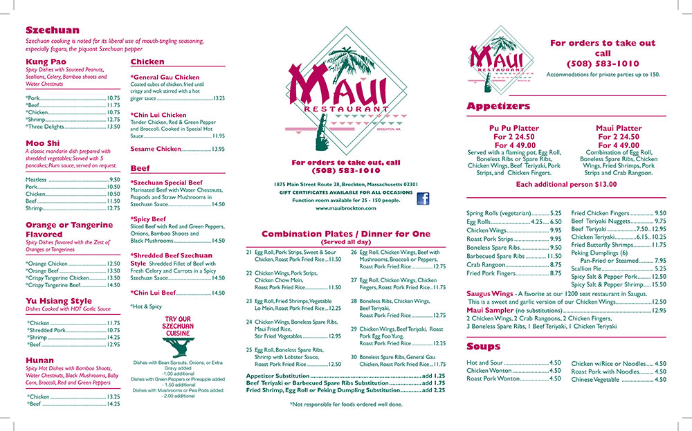 Maui Restaurant Brockton Ma Menu